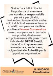 APPELLO ALLA RESPONSABILITA' – CORONAVIRUS